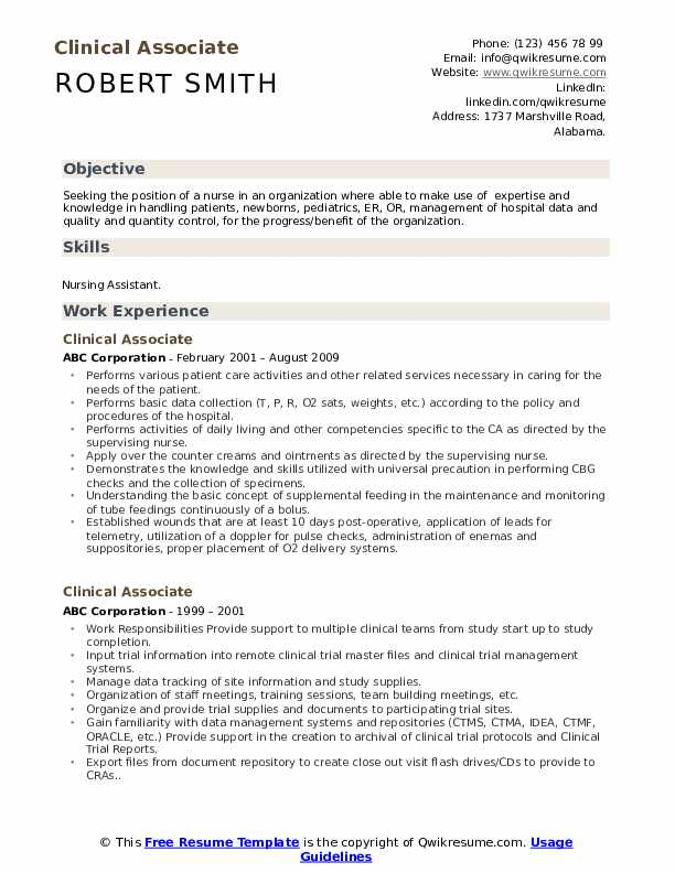 Clinical Associate Resume Model