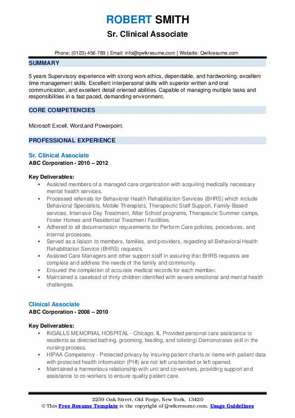 Sr. Clinical Associate Resume Sample
