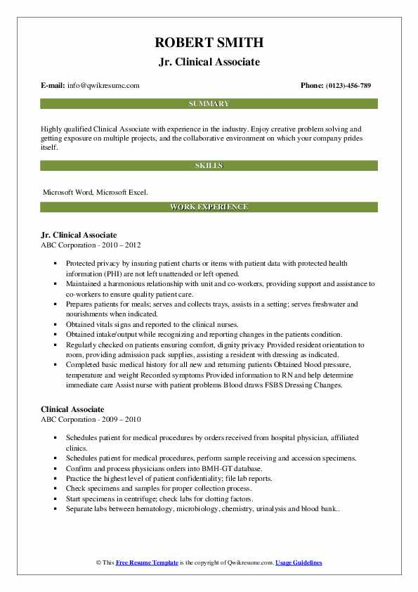 Jr. Clinical Associate Resume Sample
