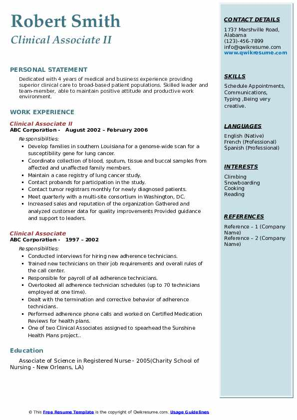 Clinical Associate II Resume Example