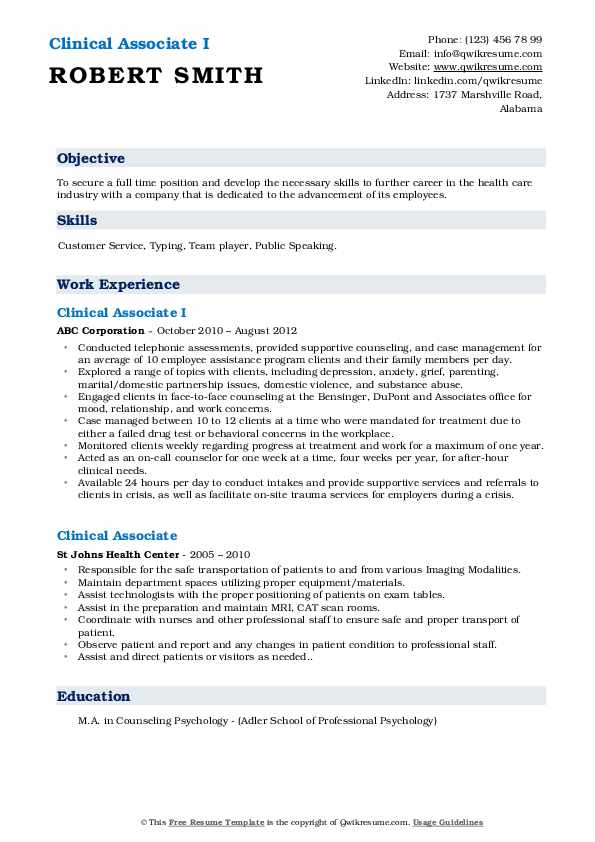 Clinical Associate I Resume Example