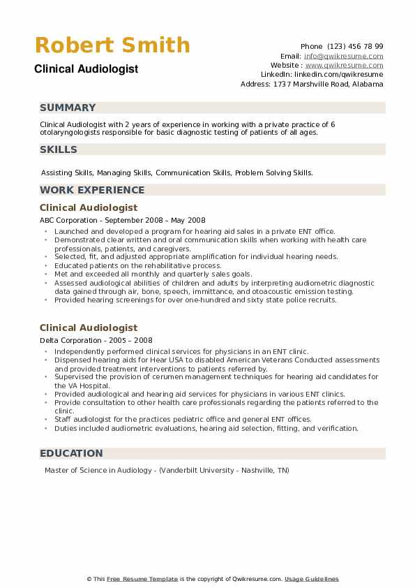 Clinical Audiologist Resume example