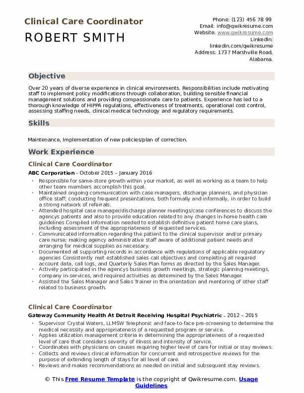 Clinical Care Coordinator Resume Template