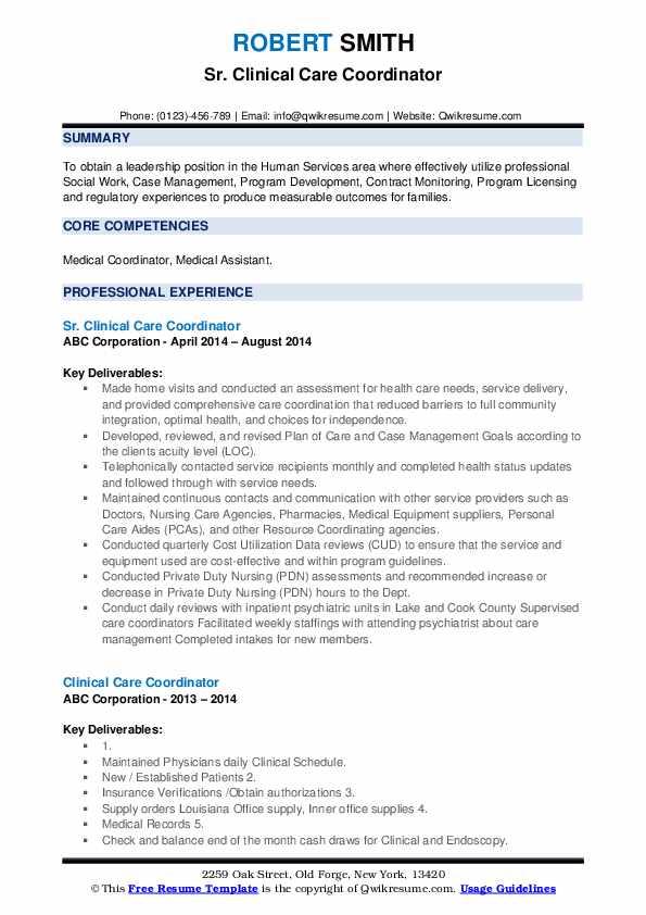 Sr. Clinical Care Coordinator Resume Model