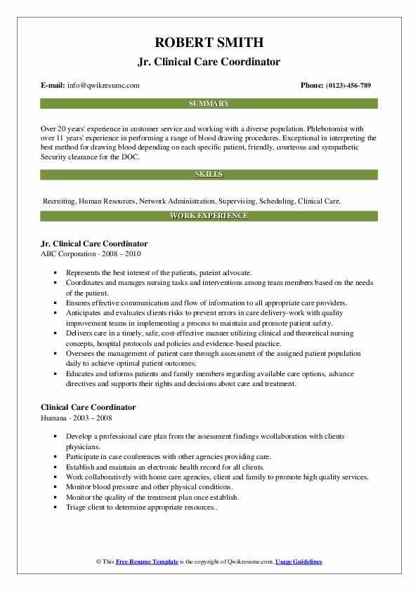Jr. Clinical Care Coordinator Resume Format