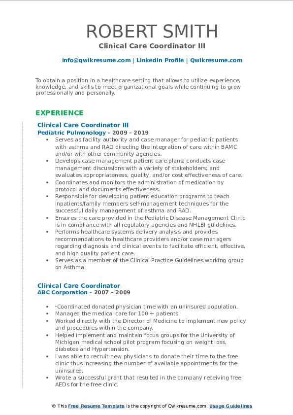 Clinical Care Coordinator III Resume Model