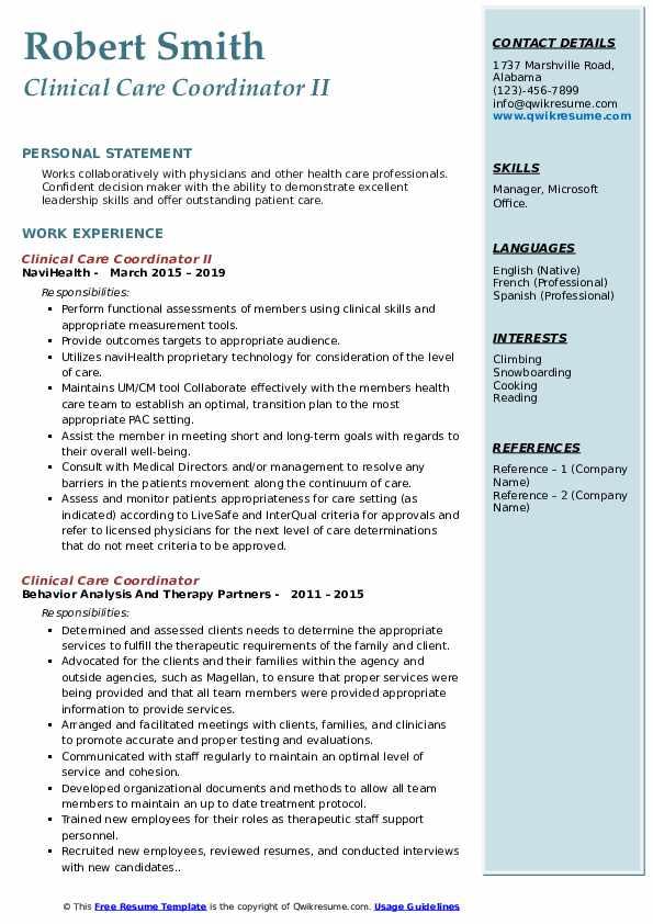 Clinical Care Coordinator II Resume Model