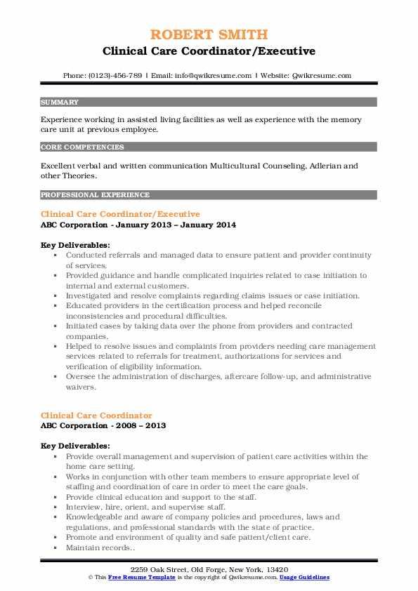 Clinical Care Coordinator/Executive Resume Model