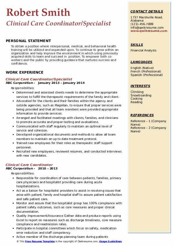 Clinical Care Coordinator/Specialist Resume Sample