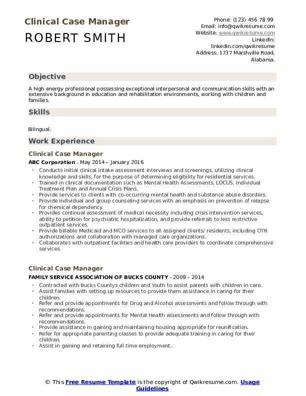 Clinical Case Manager Resume Model