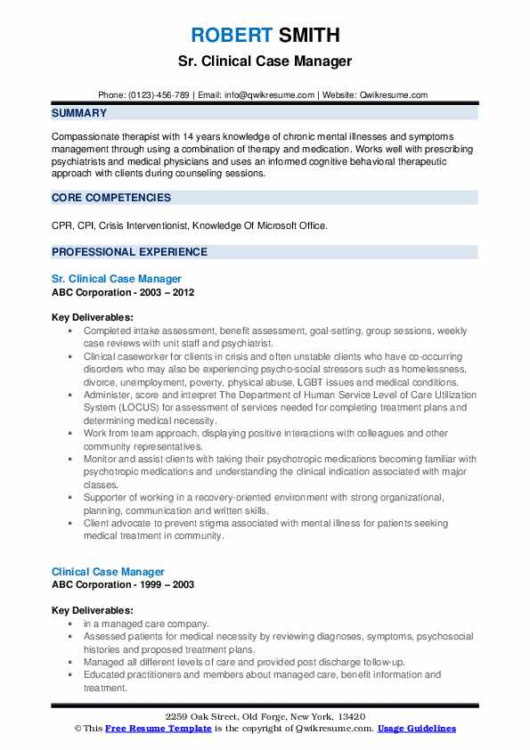 Sr. Clinical Case Manager Resume Example