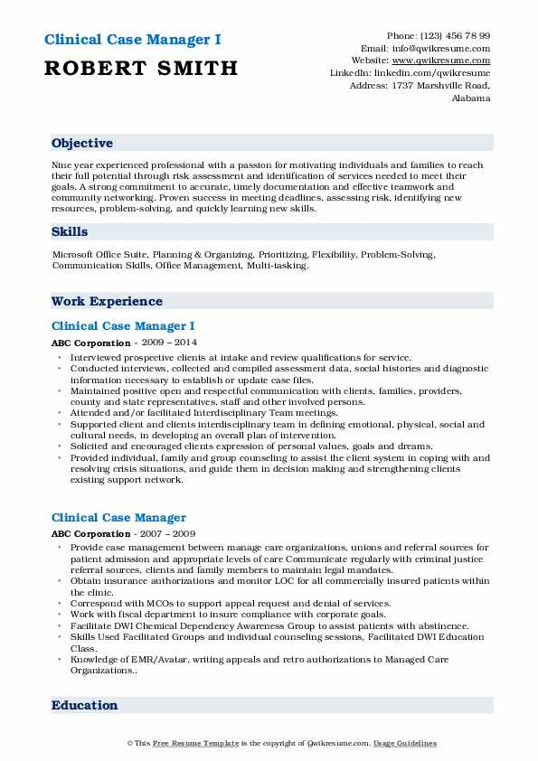 Clinical Case Manager I Resume Format