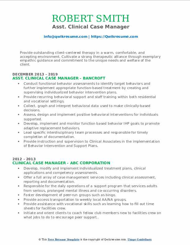 Asst. Clinical Case Manager Resume Sample