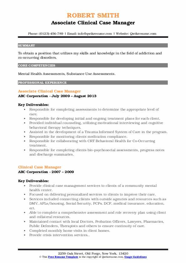 Associate Clinical Case Manager Resume Example