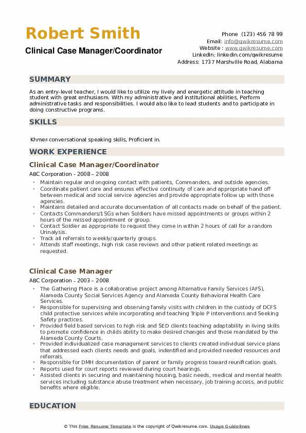 Clinical Case Manager/Coordinator Resume Format