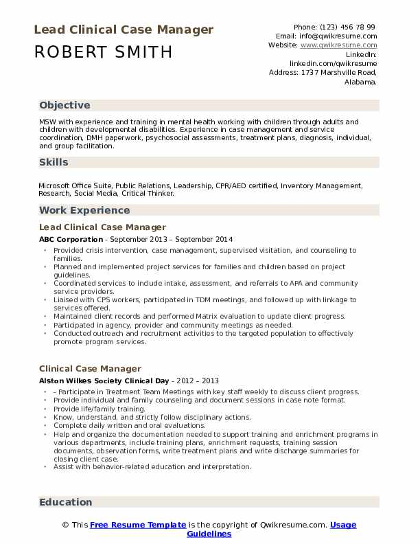 Lead Clinical Case Manager Resume Template