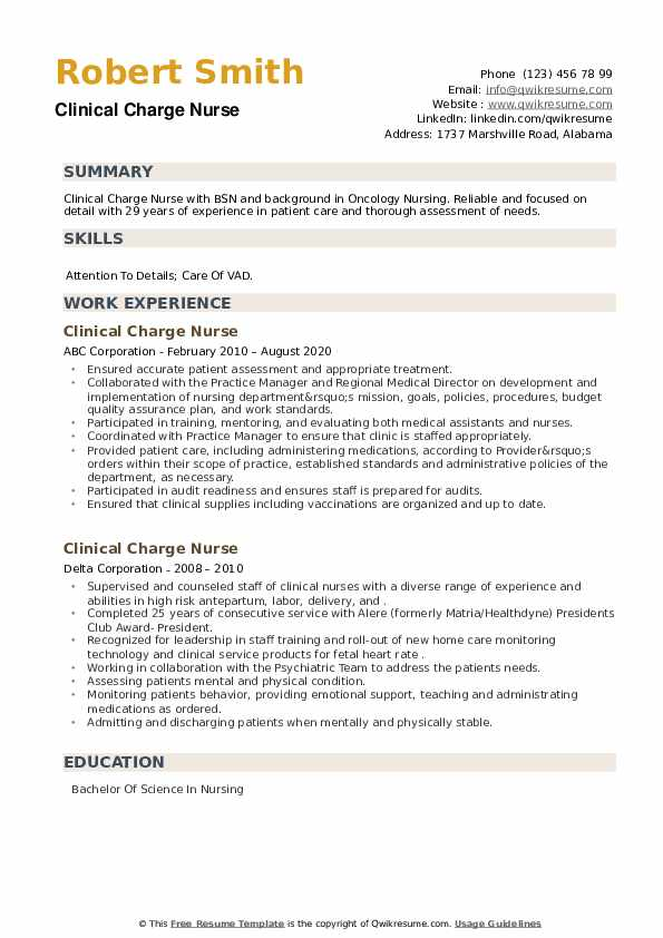 Clinical Charge Nurse Resume example