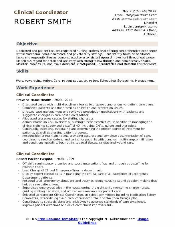 Clinical Coordinator Resume Example