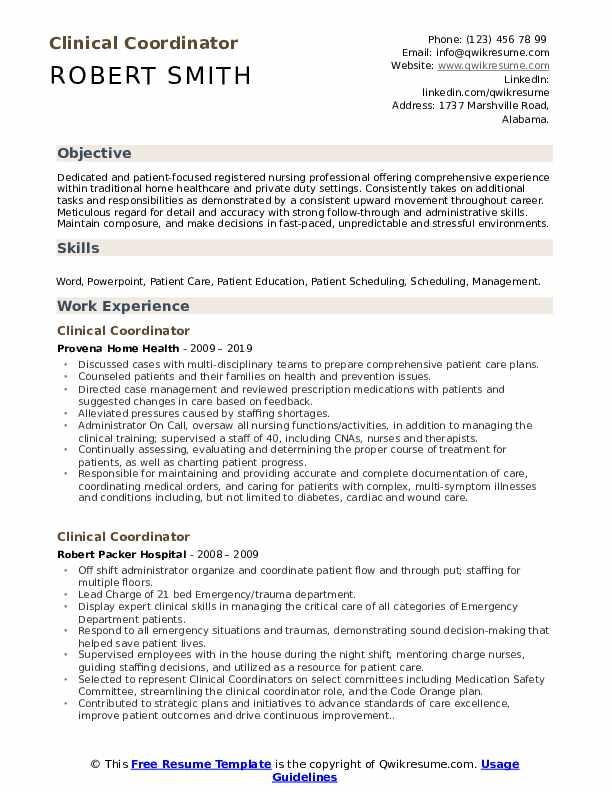 Clinical Coordinator Resume Template