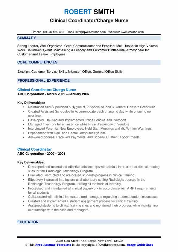 Clinical Coordinator Resume Samples Qwikresume