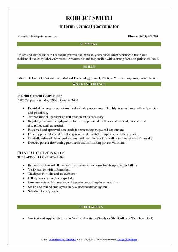 Interim Clinical Coordinator Resume Example