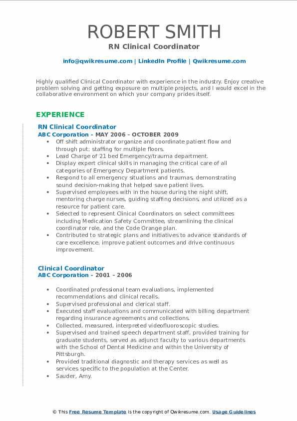 RN Clinical Coordinator Resume Sample