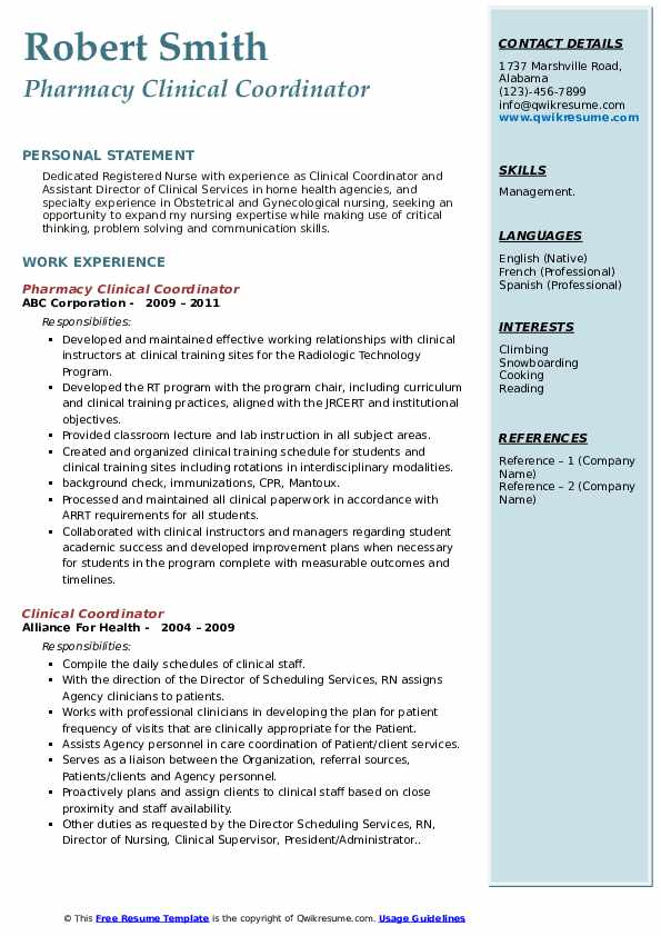 Pharmacy Clinical Coordinator Resume Format