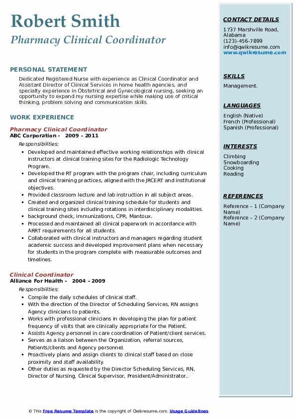 Pharmacy Clinical Coordinator Resume Model