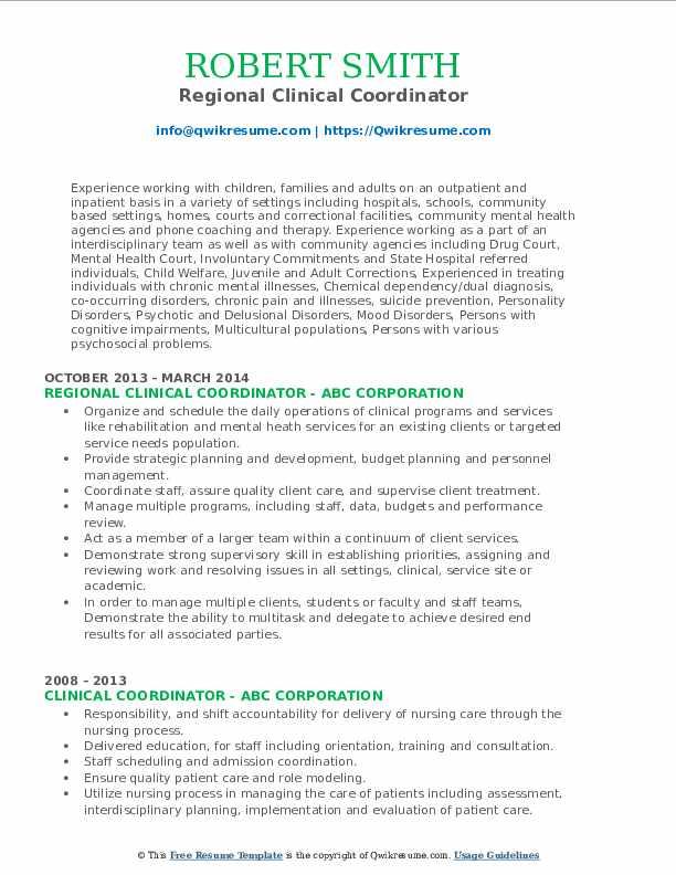 Regional Clinical Coordinator Resume Example