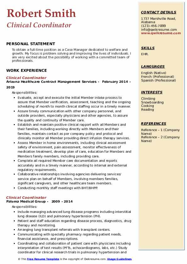 Clinical Coordinator Resume Samples Qwikresume