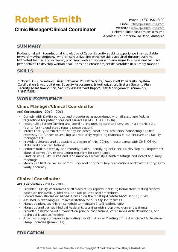 Clinic Manager/Clinical Coordinator Resume Example