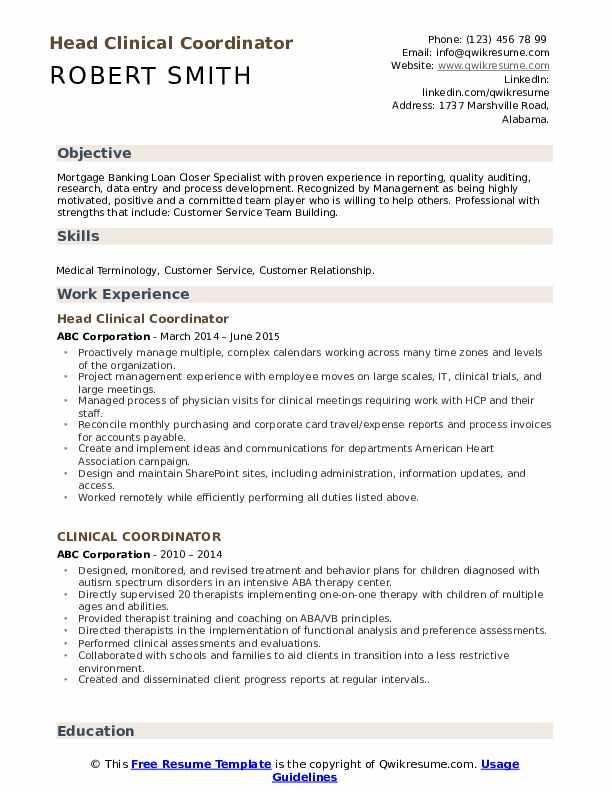 Head Clinical Coordinator Resume Example