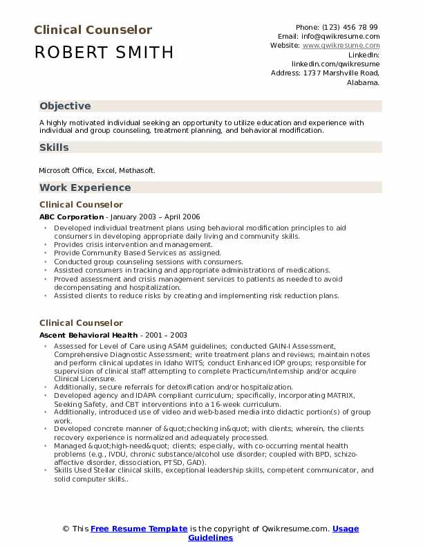 Clinical Counselor Resume Model