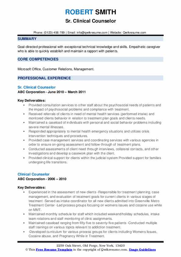 Sr. Clinical Counselor Resume Format