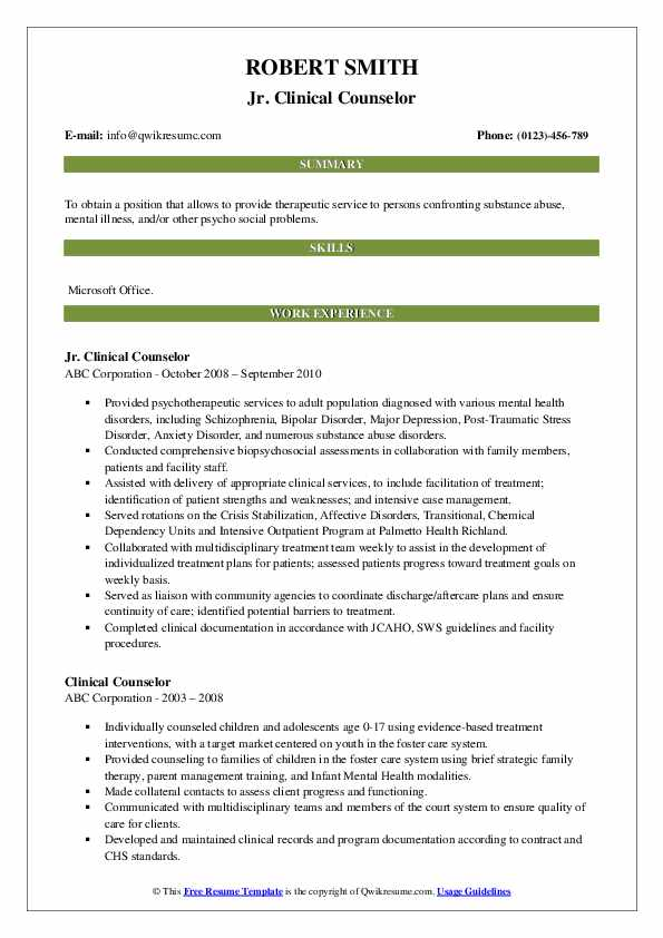 Jr. Clinical Counselor Resume Template