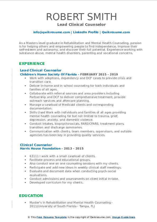 Lead Clinical Counselor Resume Model