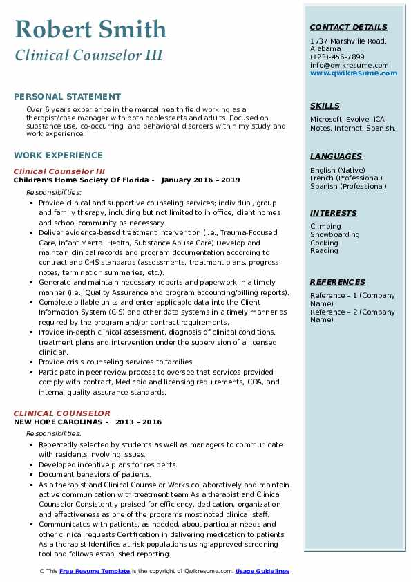 Clinical Counselor III Resume Format