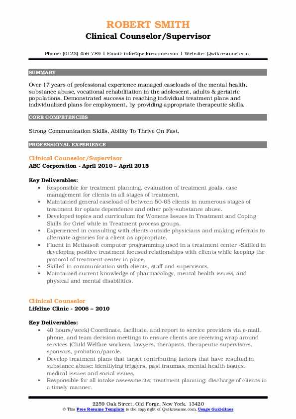 Clinical Counselor/Supervisor Resume Sample