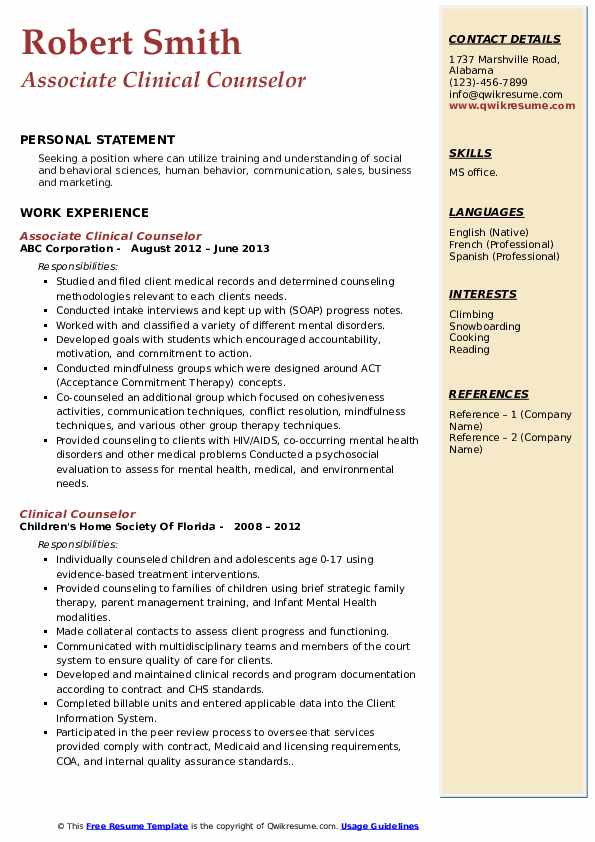 Associate Clinical Counselor Resume Template