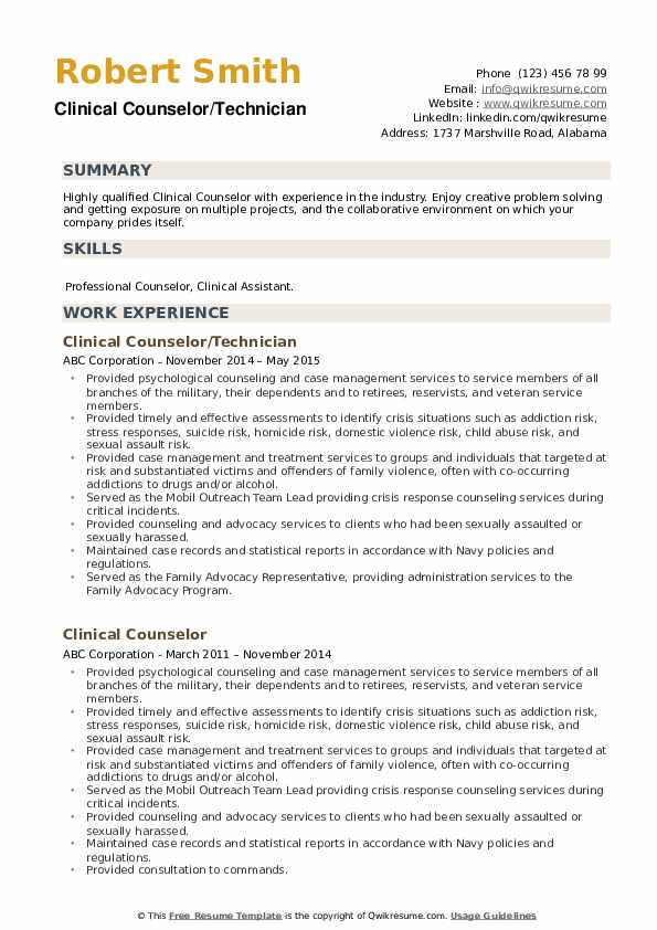 Clinical Counselor Resume example