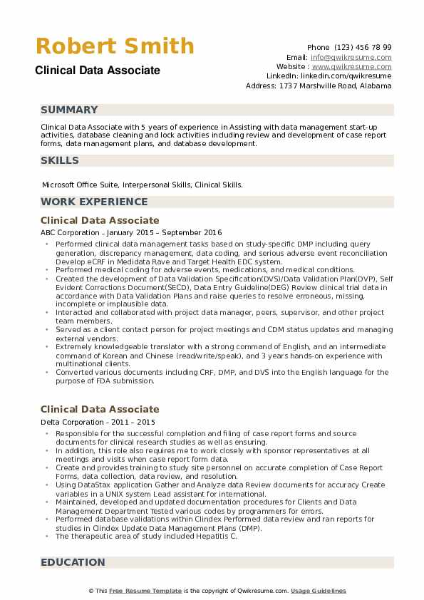 Clinical Data Associate Resume example