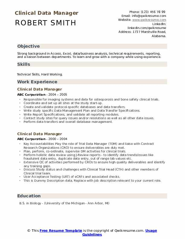 Clinical Data Manager Resume example