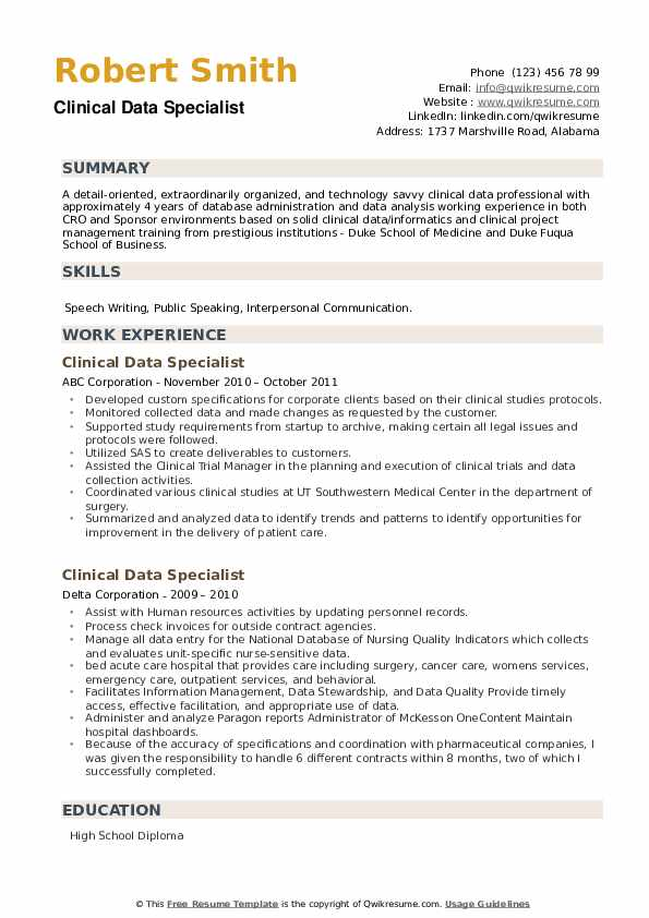 Clinical Data Specialist Resume example