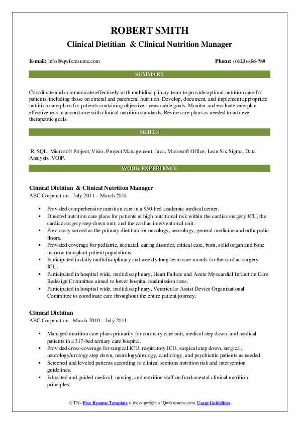 Clinical Dietitian  & Clinical Nutrition Manager Resume Sample