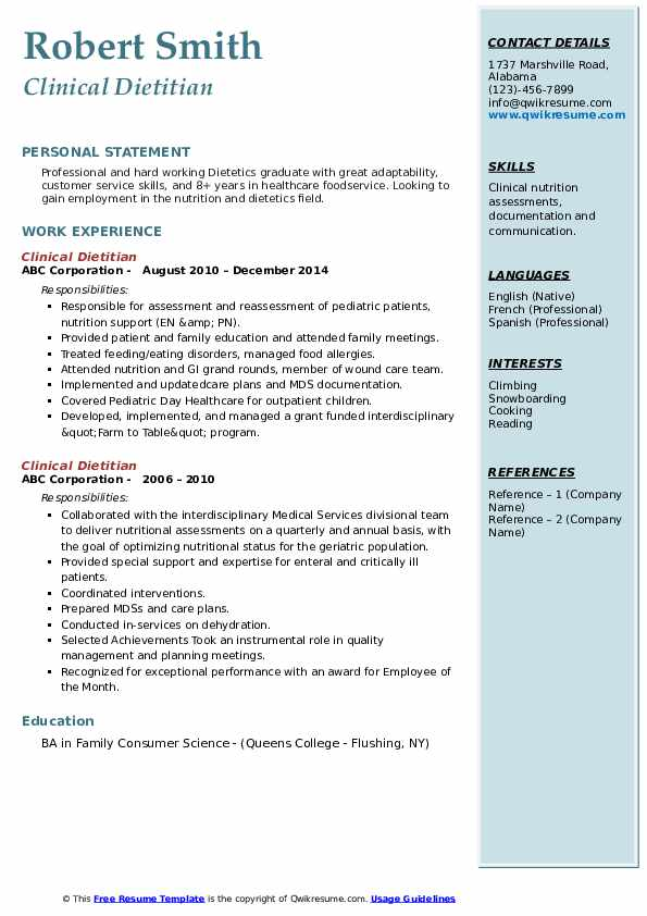 Clinical Dietitian Resume Model