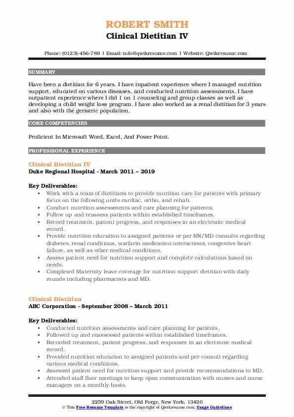 clinical dietitian resume samples