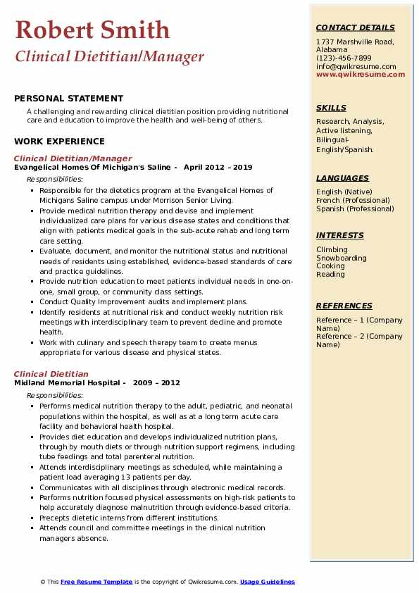 Clinical Dietitian/Manager Resume Sample