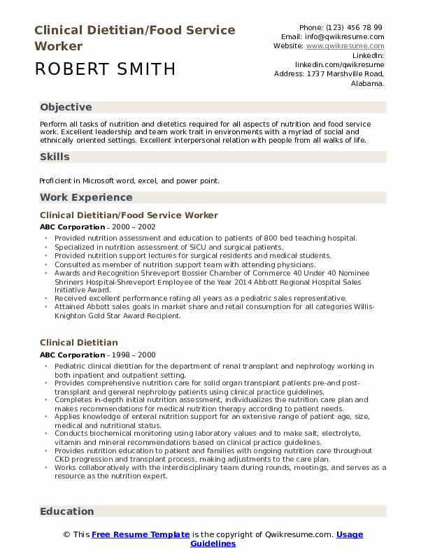 Clinical Dietitian/Food Service Worker Resume Sample