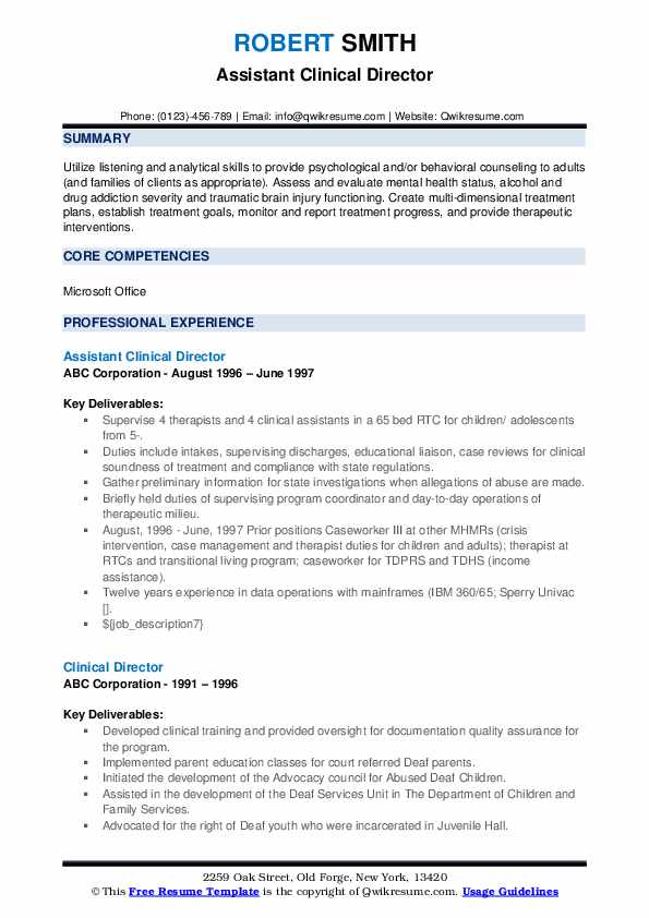 Assistant Clinical Director Resume Sample