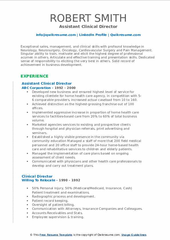 Assistant Clinical Director Resume Template